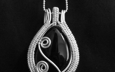 black bead with silver wire
